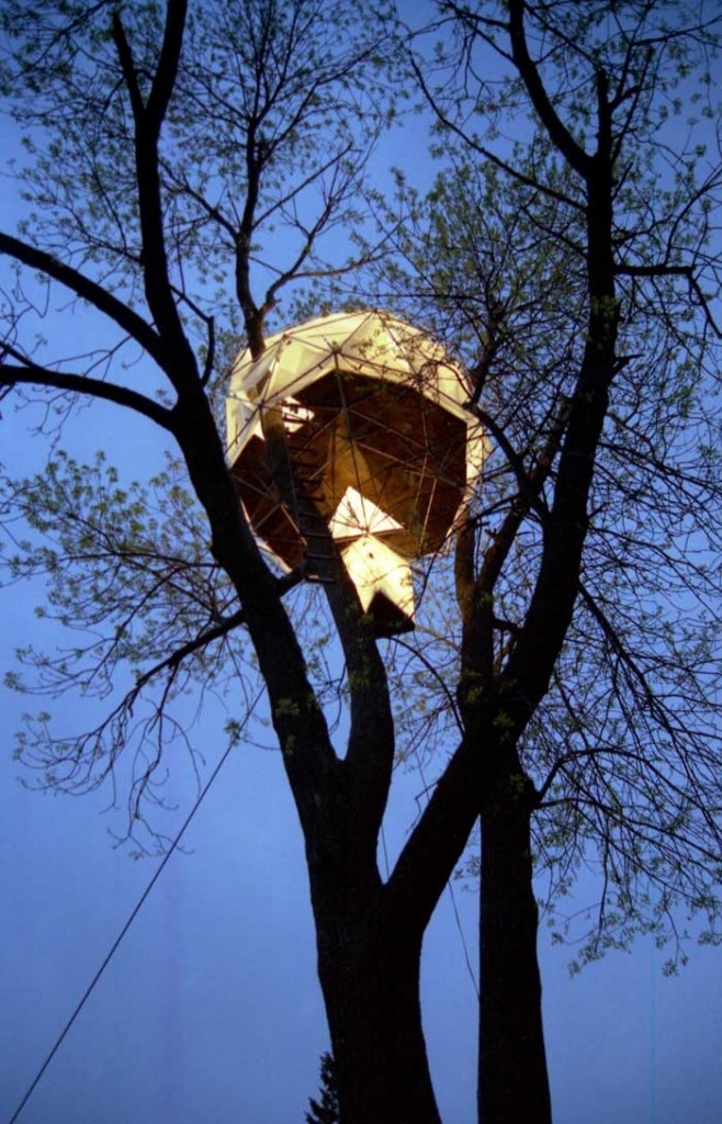 geodesic greenhouse treehouse