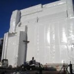 shrink wrapped building
